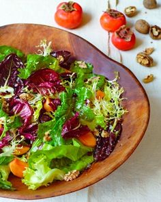 """Favoritt: See the """"Mixed Chicories with Persimmons"""" in our Thanksgiving Salad Recipes gallery"""
