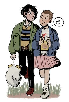 """""""mike spends all his allowance on eggos i hope they get to go to the snow ball!!!"""" (Mike Wheeler and Eleven from Stranger Things - by digrupert)"""