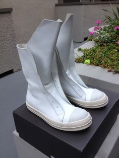 a44ef81f737c05 Rick Owens White Laceless Ramones Sneaker Boots Final Sale Price…No More  Drops! Size