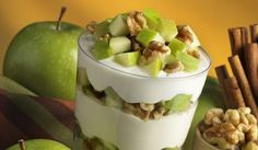 A simple breakfast snack with plain probiotic yogurt, walnuts and green apple, a low sugar fruit that you can start to introduce to your Candida diet.