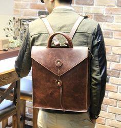 Leather Backpack - 14 Inch Laptop Backpack - Mens Crossbody Backpack Shoulder Bag Handbag - iPad Mini Leather Backpack - Travel Bag Backpack...
