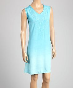 Look what I found on #zulily! Turquoise Embroidered Hibiscus Sleeveless Dress - Women & Plus #zulilyfinds