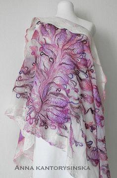 ready to ship, nuno felted silk scarf, shawl CHERRY GARDEN handmade, silk wool scarf, summer nuno felt silk scarf by Kantorysinska