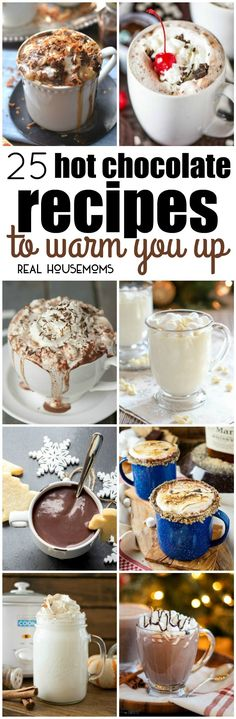 I love curling up with a blanket and a hot drink. These 25 Hot Chocolate Recipes to Warm You Up are sure to chase away the cold! via @realhousemoms
