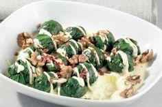 Spinatkugeln mit Safranjoghurt