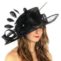 d9aebc7429f SERENTIA Women s Wide Brim Natural Sinamay Derby Church Bridal Fascinator  Dress Hat Review