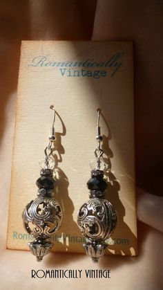 Silver Floral Swirl Earrings Black by RomanticallyVintage on Etsy, $20.50