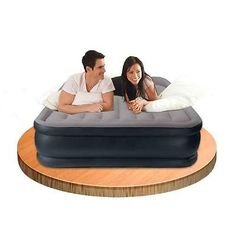 INTEX 67738 Luftbett Deluxe Pillow Queen grau-blau (230V) 157 x 203 x 43 cm