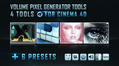 """These tools allow you to convert any image or video and text to volume pixel, and also they help you to generate mosaic image and generate """"matrix"""" text effect. All those tools can support dynamic body, as well as effectors and forces. They offer many possibilities to animate your scene. Learn more at: www.mustaphafersaoui.fr/volume-pixel-generator-tools/"""