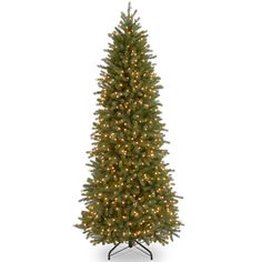 @Overstock - Feel-Real' Jersey Fraser Pencil Slim Fir Hinged 7.5-foot Tree with 650 Clear Lights- CAD $466.83