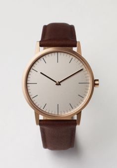 Uniform Wares 152 Series. PVD Rose Gold / Walnut Cashmere Leather.