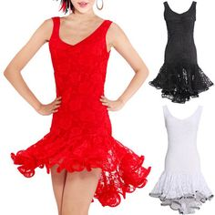 Lady Girl Latin Salsa Tango ChaCha Ballroom Dance Dress 3 Colors Free Shipping | eBay