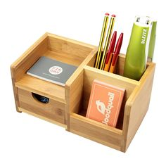 Desk Organiser, Pen Holder and Drawer Desk Tidy of 4 Compartments. Made of Natural Bamboo: Amazon.co.uk: Office Products