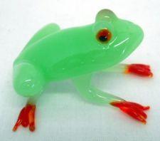 New Hand Blown Glass Light Jade Green Tree Frog Figurine Red Feet Amphibian