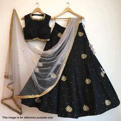 Indian Stunning Black Colored Partywear Embroidered Tapeta Silk Lehenga Choli F Lehenga Crop Top, Black Lehenga, Indian Lehenga, Silk Lehenga, Heavy Lehenga, Ghagra Choli, Anarkali, Indian Attire, Indian Wear