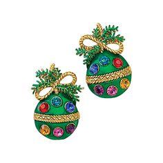 Goldplated Enamel Crystal Ornament Clip Earrings - Fashion Jewelry, Sterling, Gemstones, Pearls, Earrings, Necklaces, Rings & Bracelets