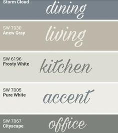 Sherwin Williams whole home palette. by cara Farmhouse Paint Colors, Paint Colors For Home, Farmhouse Decor, Modern Farmhouse, Country Farmhouse, Popular Paint Colors, Wall Paint Colors, Home Colors, Indoor Paint Colors