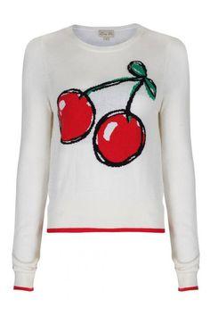 Lindy Bop Caitie Cherry Pullover sweater jumper white wit trui kersen print