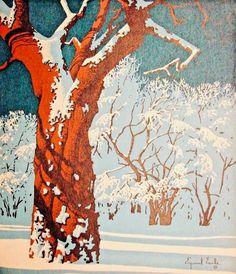 #eyvindearle, Eyvind Earle, #retrochristmas, #christmaslandscape, Vintage Christmas Card, Retro Christmas Card, #holidaysnow