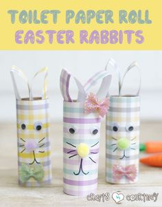 Want a new spin on DIY toilet paper roll Easter rabbits? Give these stylish scrapbook paper Easter bunnies a try. It& an Easter craft your kids will LOVE! Popsicle Stick Houses, Popsicle Stick Crafts, Craft Stick Crafts, Craft Ideas, Rabbit Crafts, Bunny Crafts, Crafts For Kids To Make, Easter Crafts For Kids, Kids Diy