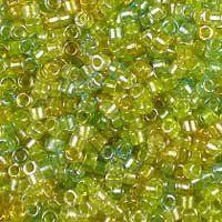 Miyuki 11/0 (1.6mm) Delica Sparkle Lined Lemon-Lime Mix glass cylinder beads, colour number DB 983. UK seller.