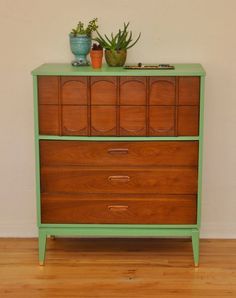 LOVE the refurnished paint jobs in this shop! SALE Mid Century Danish Tallboy Dresser by TreviVintageDesign