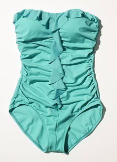 Green one piece with ruffle
