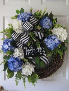 Welcome Wreath Spring Wreath Summer Wreath White by FunFlorals