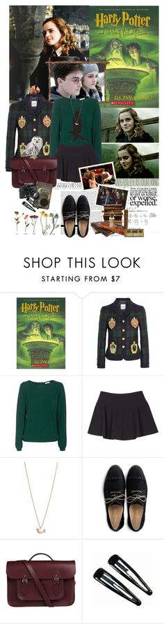 """Book Review: Harry Potter and the Half-Blood Prince by J.K. Rowling"" by bittersweet89 ❤ liked on Polyvore featuring Moschino, iHeart, Joie, Minor Obsessions, Cole Haan, The Cambridge Satchel Company, Nikon, Emma Watson, ...Lost and Clips"