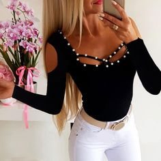 Joyionier New Women Long Sleeve Shirt Casual Open Shoulder Solid Color Autumn Tops Blouse Online, Black Blouse, Blouses For Women, Long Sleeve Shirts, Tee Shirts, Fashion Outfits, Style Fashion, Skinny Jeans, Casual