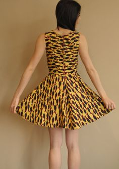 SALE  HANDMADE recycled yellow summer dress retro 3D by lavaimaria, $89.00