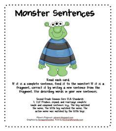 Monster Sentences - Identifying full sentences and sentence fragments. Grammar Sentences, Run On Sentences, Spelling And Grammar, Grammar Lessons, Writing Lessons, Teaching Writing, Teaching Ideas, Stretching Sentences, Writing Ideas