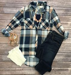 What I like about you Plaid Flannel top in peach can be worn as long sleeves or a 3/4 top. It is so very soft and comfy! This is a soft stretchy awesome material! ***This one new one is same print but