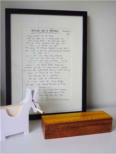 A framed family letter that was sent to your child or a letter between you and your partner. Just another way of hanging love on the walls.