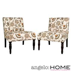 @Overstock - This set of two angelo:HOME Bradstreet armless chairs were designed by Angelo Surmelis. The Bradstreet chairs are covered in a beautiful leaf and floral fabric.http://www.overstock.com/Home-Garden/angelo-HOME-Bradstreet-Vintage-Autumn-Cream-Floral-Chairs-Set-of-2/7315800/product.html?CID=214117 $233.99
