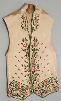 Embroidered silk waistcoat (French, late 18th century?)