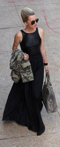 Long Black Dress n camo jacket