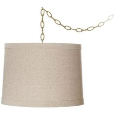 """Natural Linen 14"""" Wide Antique Brass Swag Shaded Chandelier"""