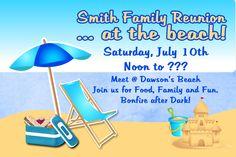 Custom Beach Family Reunion Invitation by LawsonCardShop on Etsy