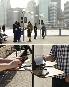 Need to juice your phone? 25 battery charging stations were installed in New York city street's . The units are fed with energy from solar panels, with the capacity to absorb UV rays, even during cloudy days. Check out more on the novelty in this article:  http://www.treehugger.com/solar-technology/new-york-gets-juiced-new-public-solar-charging-stations.html