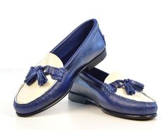 Blue & White Tassel Loafer with Leather Sole – The LaBelles