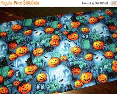 ON SALE Halloween Table Runner Pumpkins Bats by MakeMeOver on Etsy