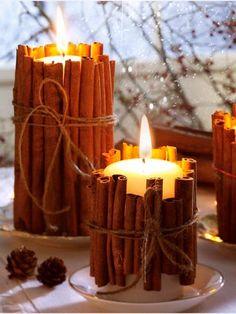 Cirios con ramas de canela para navidad #ideas #inspiration #christmas #centerpiece #decoration #navidad #diy #crafts #manualidades #centrosdemesa #table #tablesetting #tabletop #ornaments #original #candles #cinnamon
