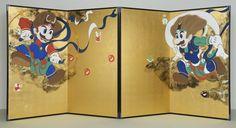 [拡大画像] マリオとルイージが風神・雷神に! 「琳派400年」とコラボレーション - ハピプラアート