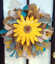 Spring/ Summer burlap wreath with large sunflower, yellow, white, and turquoise burlap ribbons
