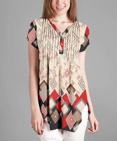 Loving this Beige & Red Geometric Button Front Tunic - Plus on #zulily! #zulilyfinds