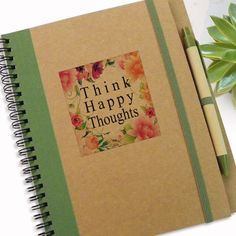 Gift Journal Think Happy Thoughts Cute Designed Journal Writing Journal Special Gift Notebook Spiral Notebook Writing Notepad (13.00 USD) by LooveMyArt