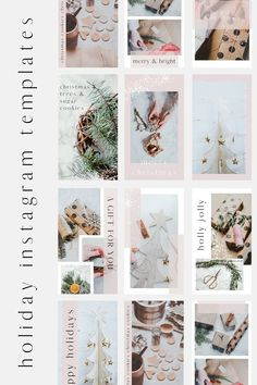 Holiday themed Instagram templates for Canva. Perfect for the holiday season, customizable in Canva, Instagram story ideas, Christmas Instagram templates, social media templates, Christmas Canva templates. | Blush Created