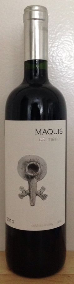2010 Carménère from Maquis Estate in the Colchagua Valley, Chile. This wine is made from Carménère grapes grown between the Chimbarongo Creek and the Tinguirrica River on the Maquis Estate in central Colchagua Valley. Three meter deep alluvial soil contains 30% clay, which produces Carménère with excellent volume, ripeness, complex aromas and great length. The wine displays a good balance of freshness and concentration.