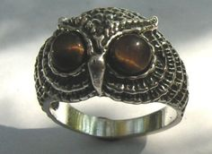 Sterling Silver Owl Ring With Tiger Eye In Sizes 4-13......Size 9!